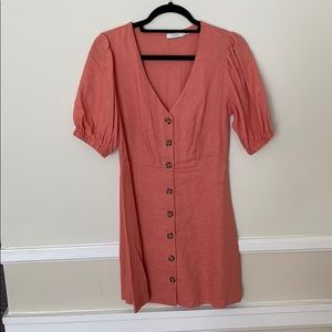 Coral puff sleeve button down dress